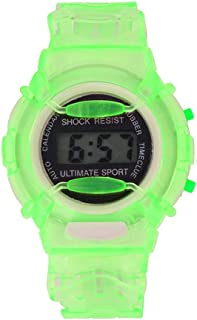 RONSHIN Gifts for Children Student LCD Digital Watch Year Month Date 24 Hour Display Sports Wristwatch Boy Girl Gift Green