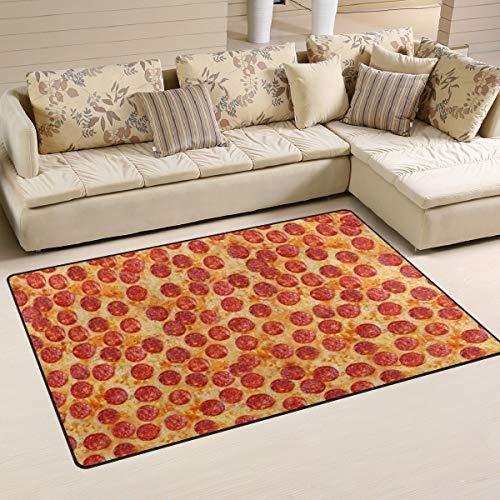 linomo Area Rug Teppich Jahrgang Wurst Pizza Boden Teppiche Fußmatte Wohnzimmer Wohnkultur,Teppiche Flächenmatten für Kinder Jungen Mädchen Schlafzimmer 31 x 20 Zoll