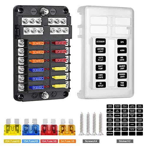 Deyooxi caja fusibles 12v,portafusibles con Lámpara de Alerta LED Kit,porta fusibles coche con Bus Negativo para Coche, Barco, Marino, Triciclo, Furgoneta,SUV 12V/24V(Estilo 2-12-circ con Neg & Co