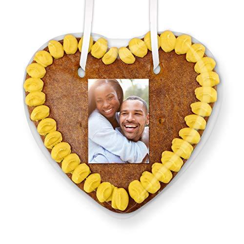 Lebkuchenherz mit eigenem Foto individuell Gestalten | Farbe: Gelb | persönliche Geschenkidee | jetzt direkt online konfigurieren | LEBKUCHEN-WELT