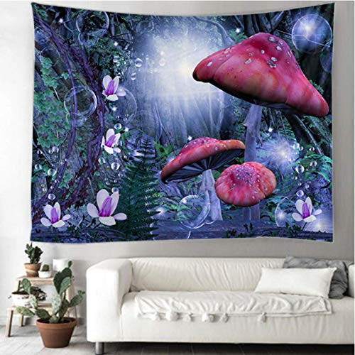 CARPET-STORE Tapiz de Mandala Indio de Hongo púrpura Colgante Tapiz de brujería psicodélico Gitano Bohemio psicodélico Tapiz