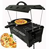 Geico-master Electric & Charcoal BBQ Grill & Tandoor Portable Barbecue, Stainless Steel Grill, Both for Outdoor & Indoor Electric Grill with 10 Wooden Handle Skewers (Black)