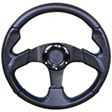 Steering Wheel Compatible With 320MM Black PVC Leather Blue Stitch 6-Bolt Steering Wheel & Horn Buttonby IKON MOTORSPORTS