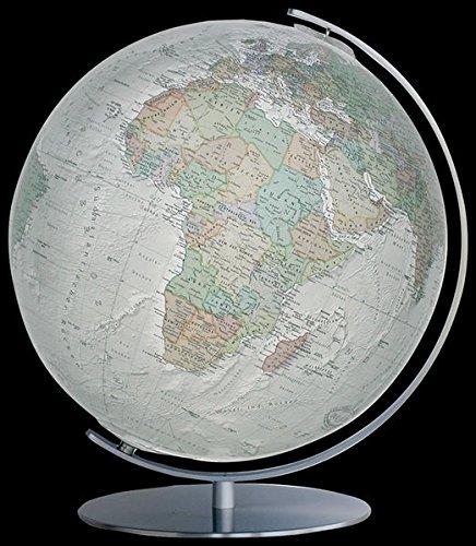 Columbus DUO ALBA Leuchtglobus: Tischmodell, TING-fähig, handkaschiertes Kartenbild auf Acrylglaskugel, Kugeldurchmesser 40 cm, Meridian und Fuß aus Edelstahl, matt bebürstet