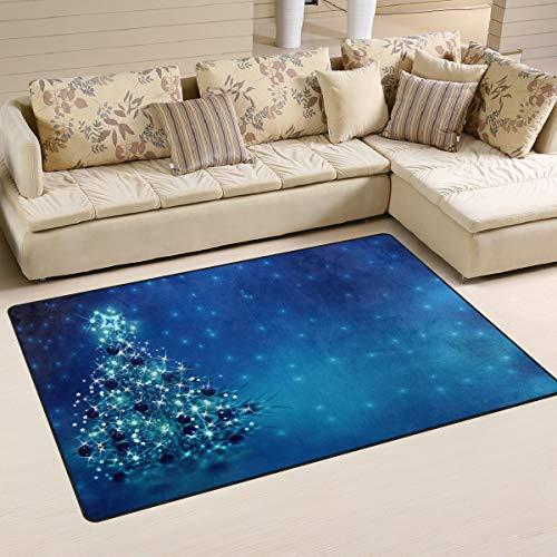 ALAZA Non Slip Area Rugs Blue Christmas Tree Floor Mat Living Room Bedroom Carpets Doormats Home Decor 50 x 78 cm