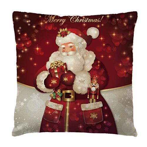 Guangcailun Navidad Algodón Lino Funda de almohada muñeco de nieve de Santa Impresión ca Decoración Cojín Shell Decoración de Navidad