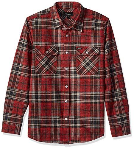 BRIXTON Herren Bowery Long Sleeve Standard Fit Flannel Hemd, Ziegel/Stahl, Klein