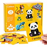 Toddler Puzzles Kids Learning Toys - 26 Alphabet Puzzles Matching 26 Animal Puzzles for Children, 104 PCS Jigsaw Puzzles Brain Teaser Educational Games Toddler Learning Toys Ages 2 3 4 and Up