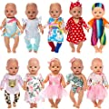 Ecore Fun 10 Set 14-18 Inch Doll Clothes Outfits Casual Wear Pjs for 43cm New Born Baby Dolls, 15 Inch Bitty Baby Doll, American 18 Inch Girl Doll