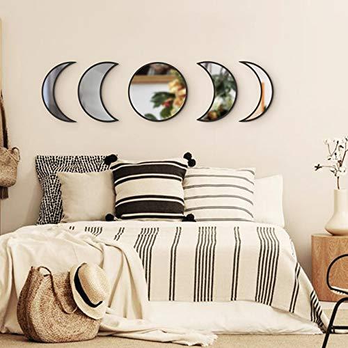 Funnytoy Skandinavisches natürliches Dekor Acryl Mondphasen-Spiegel Innendesign Holz Mondphase Spiegel Bohemian Wanddekoration für Zimmer Schwarz