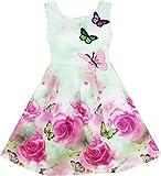 Sunny Fashion Mädchen Kleid Rose Drucken Schmetterling Stickerei Grün Gr. 122