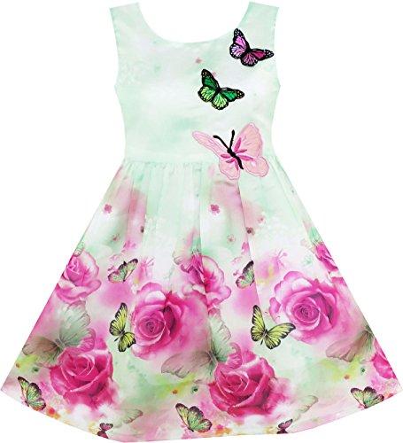 Sunny Fashion Mädchen Kleid Girls Dress Rose Flower Print Butterfly Embroidery Green, Grün-Grün, 7 Jahre