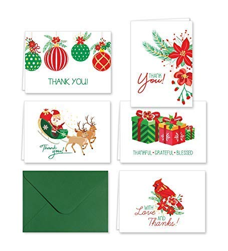 Paper Frenzy Traditional Christmas Thank You Note Cards and Envelopes – 25 pack