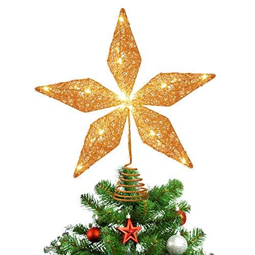Toyvian Weihnachtsbaum Topper beleuchteter Stern Gold Weihnachtsbaumstern mit eingebautem LED 3D Hohlglitter beleuchteten Gold Schneebaum Topper für Christbaumschmuck