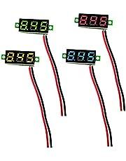 KeeYees LEDデジタル電圧計 DC2.5-30V 2線式 0.28インチ 3桁表示 4色 超小型 4個入り