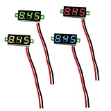 4 Stück 0,28 Zoll Mini Digital Voltmeter LED-Anzeige, Messbereich DC 2,5V-30V Zwei-Draht Spannungsprüfer, 4 Farben: Rot/Gelb/Grün/Blau