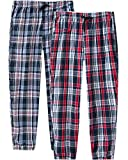 JINSHI Pantalones Largos Algodón a Cuadros Pijamas de Salón para Hombres Paquete de 2 Talla XL...