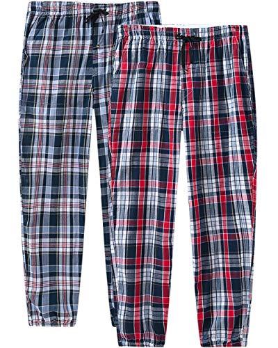 JINSHI Herren Schlafanzughosen Lang Pyjamahose Karierte Nachtwäsche Komfortabel Sleep Hose 2 Pack 4XL/5XL(US 2XL)