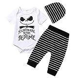 BaZhaHei Bambini Halloween Tuta,Romper Manica Corta + Pantaloni a Righe + Cappello 3pcs Set di Costumi Neonato Casuale Stampa Pagliaccetto Bambina età 0-2 Anni