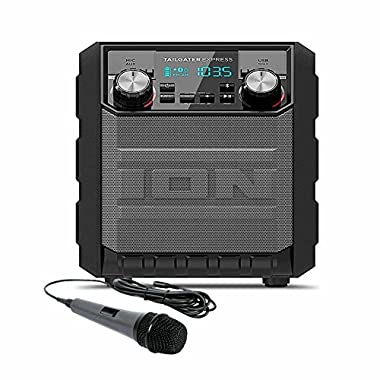 ION Audio Tailgater Express | Compact Water-Resistant Wireless Speaker System with AM/FM Radio & USB Charge Port with Dynamic Microphone with 10 Ft. Cord