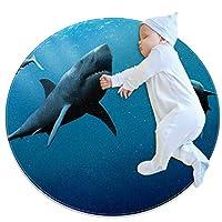 エリアラグ軽量 海の魚 フロアマットソフトカーペット直径39.4インチホームリビングダイニングルームベッドルーム