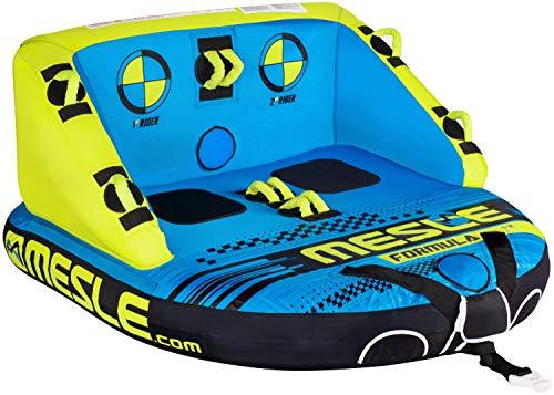 MESLE Tube Formula, 2 Personen, Sofa Fun-Tube für Boot, aufblasbare Towable-Couch zum Ziehen, für Kinder & Erwachsene, Wasser-Ski Schlepp-Reifen, Wassersport Wasser-Ring Boston Ventil, blau Lime