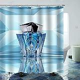 Juego de cortina de ducha brillante de 183 x 183 cm, botella de perfume azul, duradero e impermeable, juego de cortinas de ducha de secado rápido con 12 ganchos de plástico y alambre de plomo pesado