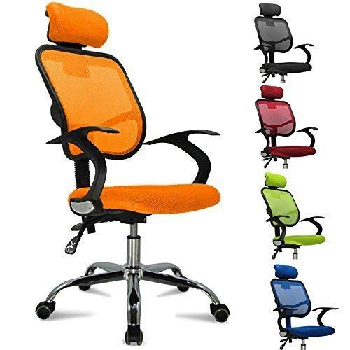 FEMOR Schreibtischstuhl Drehstuhl Bürostuhl Chefsessel sitzkomfort Bürodrehstuhl Binklusive Armlehnen Bandscheiben ergonomisches - bis 130KG - Höhenverstellung - Farbwahl (Orange)