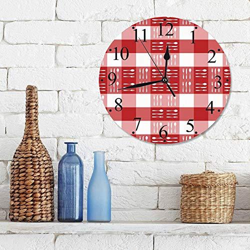 12 Zoll Wall Clock Modern Lautlos Wanduhr Schachbrettmuster, Besteck-Silhouetten auf Quadraten Ess-Picknick-Fliesen Löffel Gabeln Messer Dekorativ,für Wohn- /Schlaf-Kinderzimmer Büro Cafe Restaurant
