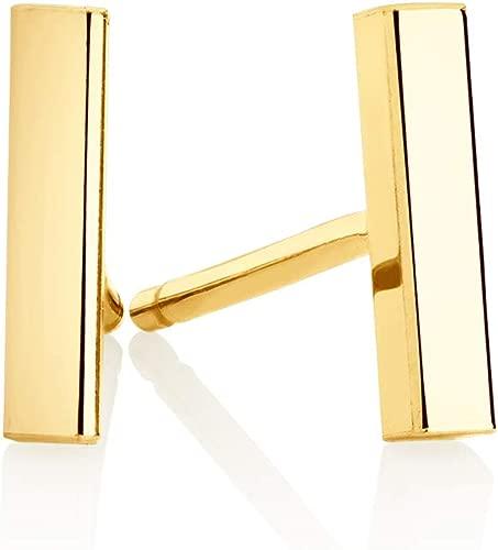 Minimalist 14k Gold Polished Stud Bar Line Stick Earrings, (8.5mm X 2mm)