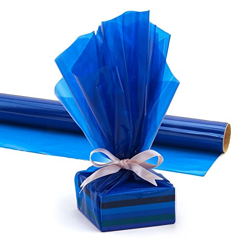 Hygloss Products Cellophane Roll – Cellophane Wrap for Crafts, Gifts, and Baskets 20 Inch x 5 Feet, Blue