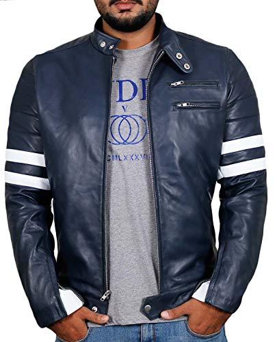 Laverapelle Men's Genuine Lambskin Leather Jacket (Navy Blue, Medium, Polyester Lining) - 1501535