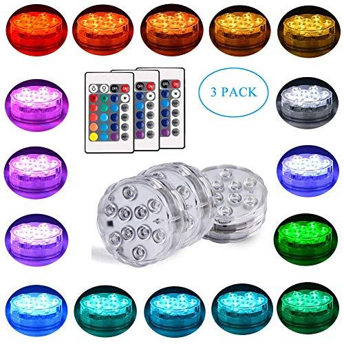 Dingde 3 Packung Shisha LED Licht 3aaa batteriebetrieben 7cm RGB Multicolors wasserdichte LED leuchtet Untersetzer mit Fernbedienung für das Rauchen Shisha Hookah Beleuchtung Dekoration