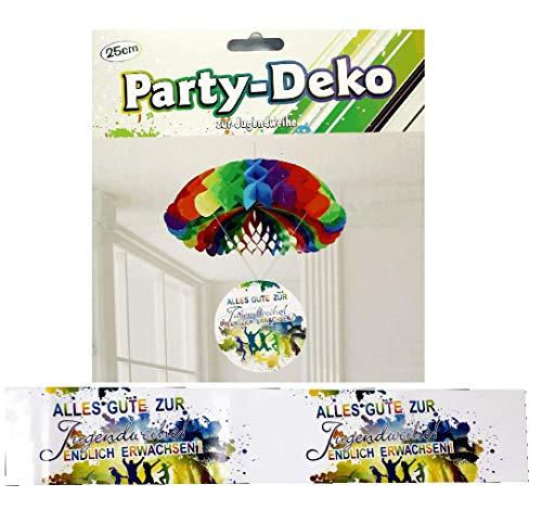 Feste Feiern Jugendweihe Deko Deckenhänger Party-Dekoration Hängedeko 60cm Fallschirm Spirale Alles Gute zur Jugendfeier-Party Endlich Erwachsen Mehrfarbig bunt