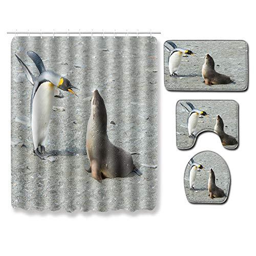 EZEZWSNBB 4-teiliges Duschvorhang-Set mit rutschfesten Teppichen, WC-Deckelbezug und Badematte, Tiere Pinguine und Delfine-Duschvorhang wasserdicht mit 12 Haken 180x180 cm Haus Dekoration