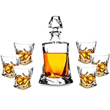 Jarra de Whisky, Decantador de Whisky, 7 Piezas, 100% Libre de Plomo Cristalino Resistente Botella de Whisky Set para Scotch, Bourbon,800ml Decantador y 6 Vasos de Whisky 320ml