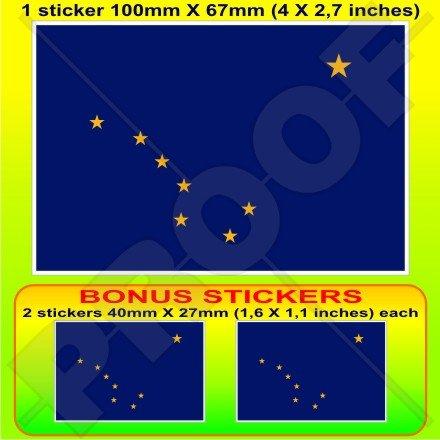 ALASKA Etat Drapeau États-Unis d'Amérique, l'Alaska Américain, 100mm Vinyle Autocollant, x1+2 BONUS Stickers