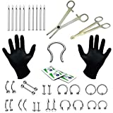 BodyJ4You 36PC PRO Piercing Kit Steel 14G 16G Retainer Nose Ring Septum Tongue Belly Jewelry