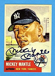 Mickey Mantle 1953 Topps Baseball Reprint Card (w/Facsimile Signature on front of card** (Yankees)