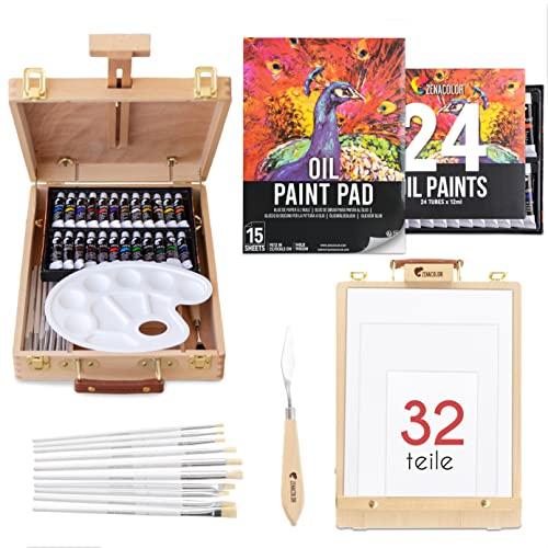 Ölfarben Set Künstlerqualität mit Tisch-Staffelei - 24 Tuben hochwertige Ölfarbe, 10 Pinsel, 1 Malspachtel, 3 Leinwände, Malblock 1 Palette - Malkoffer für Künstler Bedarf