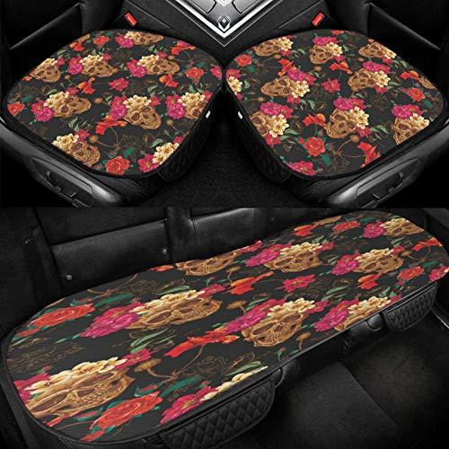 Yuniker Vintage Flowers and Skull Car Ice Cushion Universal Car Seat Protector Soft Cool Bottom Seat Covers 3 Pcs Non-Slip Cushion Mats for Car Truck SUV Van Mpv