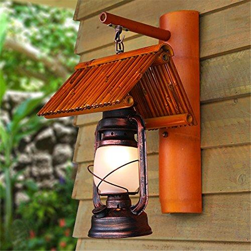 YU-K eenvoudige woonkamer eetkamer Zuidoostasiewand bamboe restaurant gang paard muur tuin balkon hand bamboe muur lamp vintage kerosiwand (220 * 450 mm)