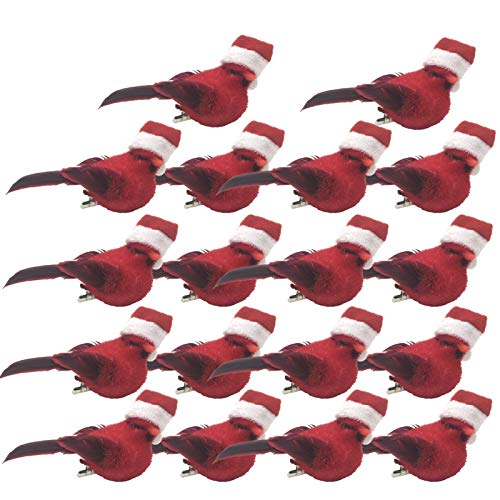 BANBERRY DESIGNS Cardinal Clip-On Christmas Tree Ornaments Set of 18 - Red Cardinals with Santa Hats and Metal Clips Attached - Small Artificial Birds for Crafts - Approx. 3 Inches Long… (2)