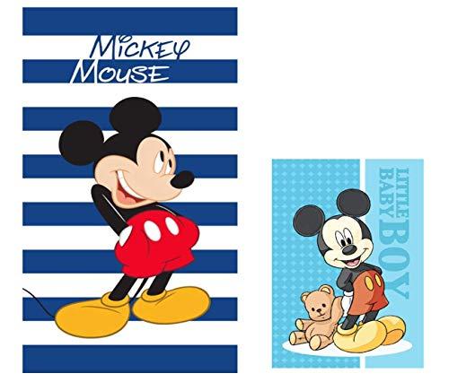 Theonoi - Juego de Toallas Infantiles: 1 Toalla de Playa de 70 x 140 cm + 1 Toalla para la Cara/Toalla de Invitados con diseño de Mickey Mouse, Regalo para niños y bebés de algodón (2 Unidades)