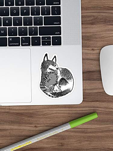 Husky Loves Kitty Stickers Vinyl Sticker voor auto's, vrachtwagens, waterfles, koelkast, laptops (langste zijde 3