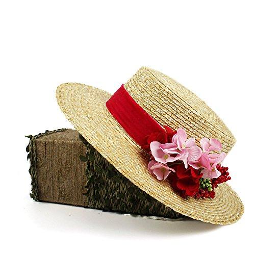 L.L.QYL Cap Sombrero de Paja Rojo de Sun para Mujer Sombrero de...