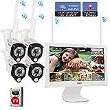 【Two Way Audio& PIR Wärmesensor】 Tonton 1080P Audio Wireless Überwachungskamera Set 8CH 15.6' Full HD Monitor Videoüberwachung NVR+ 1TB Festplatte mit 4 * 1080P IP WLAN Funk Überwachungskameras