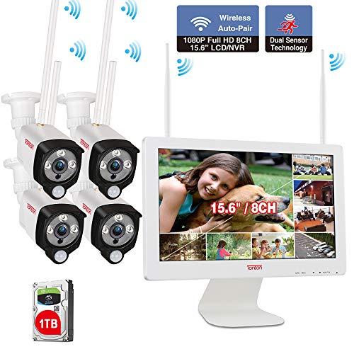 【Two Way Audio& PIR Wärmesensor】 Tonton 1080P Audio Wireless Überwachungskamera Set 8CH 15.6