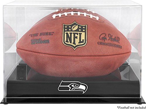 Mounted Memories Seattle Seahawks Team Logo Football Display Case | Details: Black Base, Mirror Back