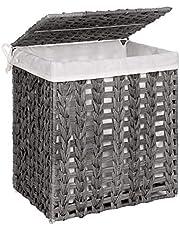 SONGMICS Wasmand handgeweven, wasverzamelaar in polyrattan, waszak afneembaar, met deksel, metalen frame, opbergmand, 45,5 x 32 x 51,5 cm, woonkamer, badkamer, grijs LCB050G02